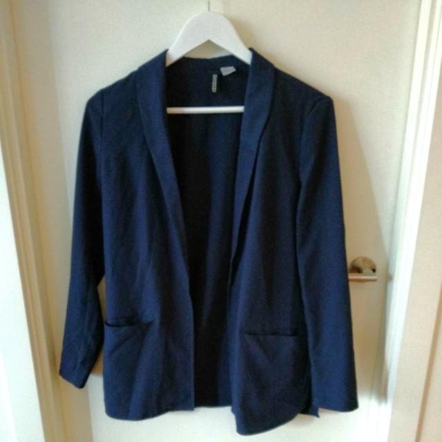 Navy casual blazer coat