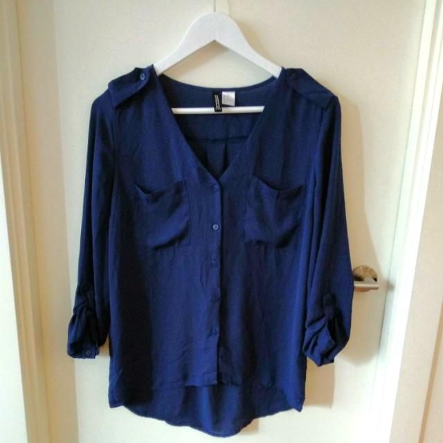 Navy collarless loose shirt