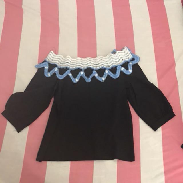 Navy sabrina blouse