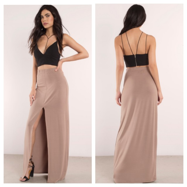 NEW Tobi Taupe High Waist Maxi Skirt with front slit