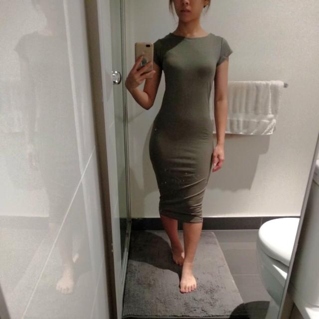 Olive bodycon midi dress