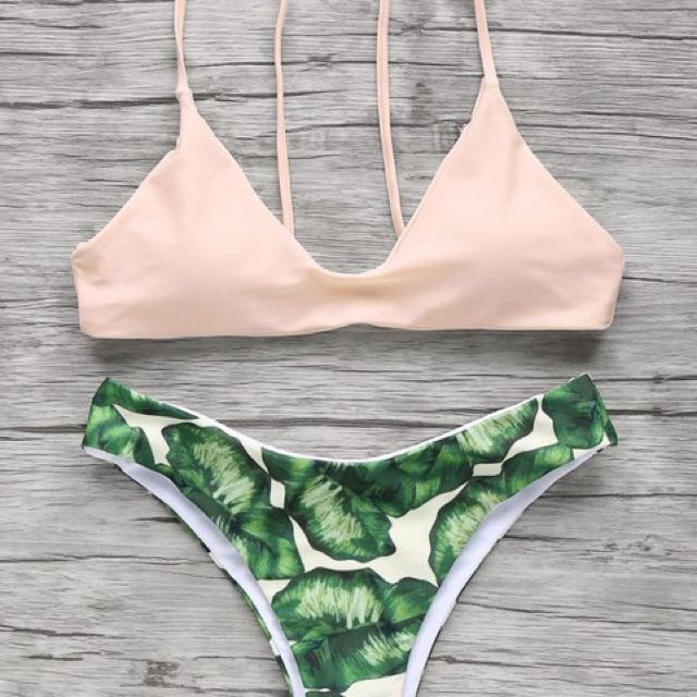 Pink green leaves bikini set size medium
