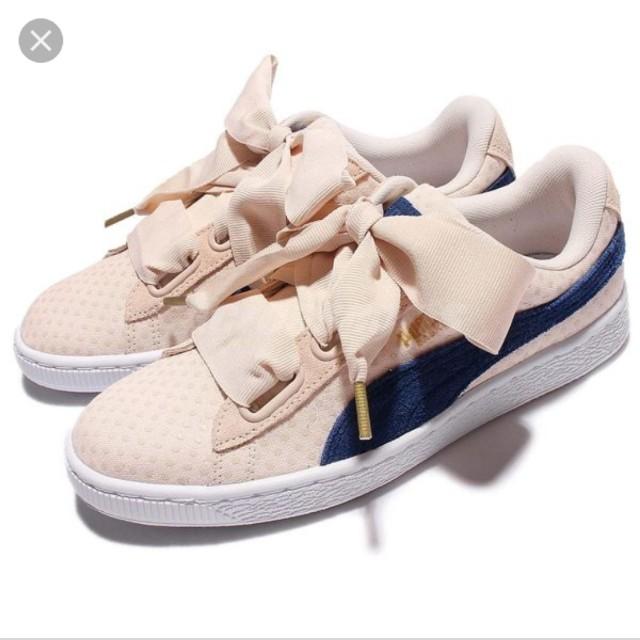 Puma Basket Heart Denim 丹寧X 點點蝴蝶結緞帶鞋米白藍女鞋休閒鞋