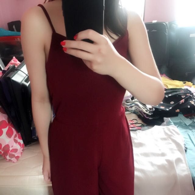 Red 3/4 Jumpsuit (all size fits all)