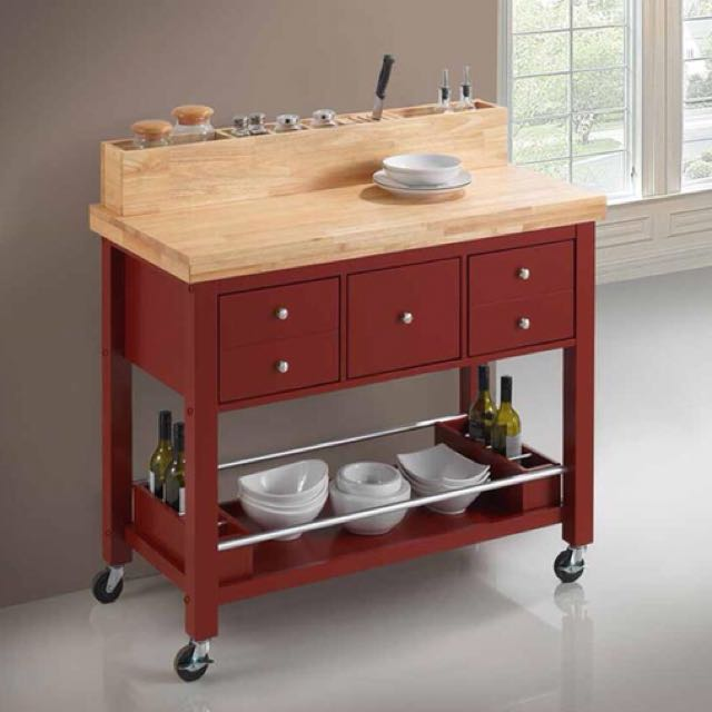 Red/Natural Kitchen Serving Cart Kitchen Island with Casters
