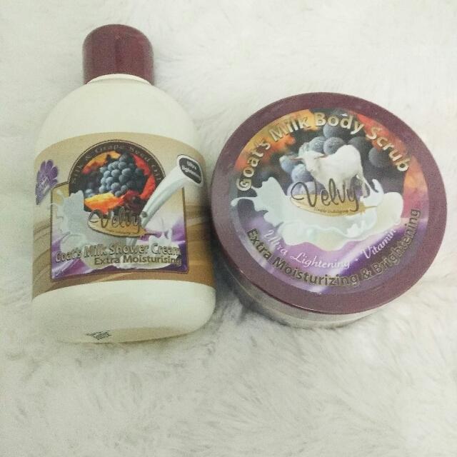 Sabun Dan Scrub Susu Kambing Velvy, Health & Beauty, Skin, Bath, & Body on Carousell
