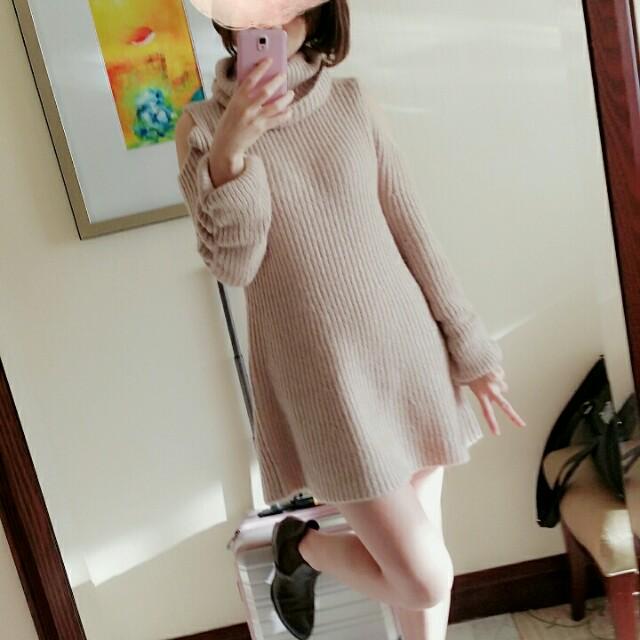 正品snidel玫瑰石英粉高領露肩洋裝