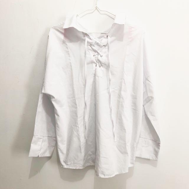 Tied Shirt White    kemeja putih kemeja putih lengan panjang white shirt kemeja putih import kemeja import baju import