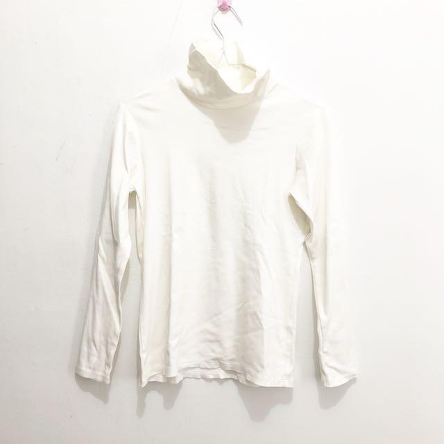 Uniqlo White Shirt || uniqlo basic uniqlo kaos lengan panjang branded original