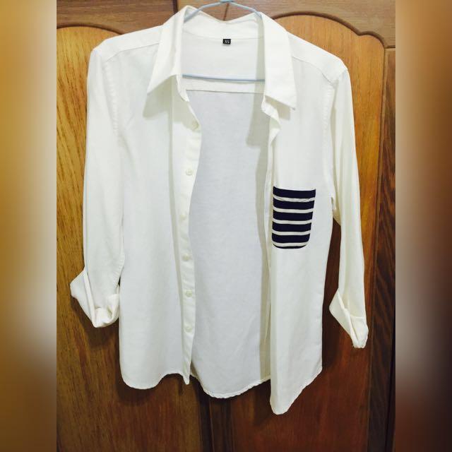 Vieso米白色口袋拼接外套