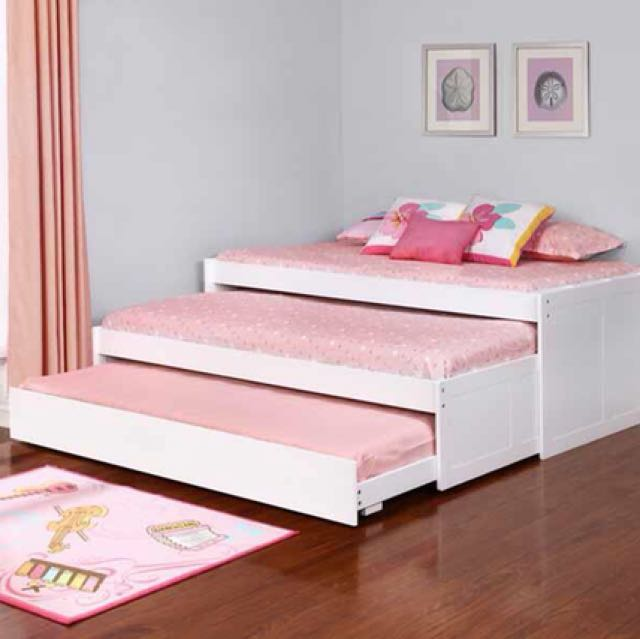 White Twin Triple Daybed Frame
