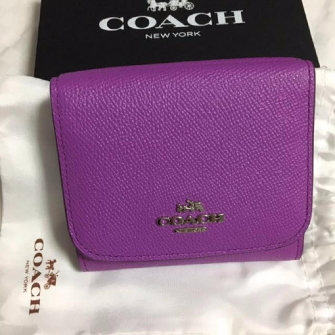 *Xmas SALE * - NEW AUTH SEASONAL Pretty Purple IRIS Violet Orchid COACH Short Fold leather Wallet - SHW