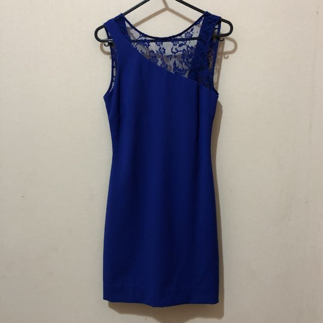 Zara blue lace backless dress