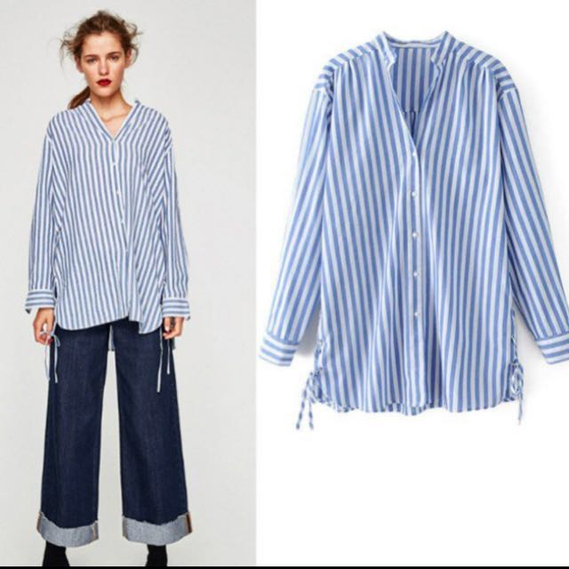 fc740e28 Zara inspired blue stripes blouse, Women's Fashion, Clothes, Tops on ...