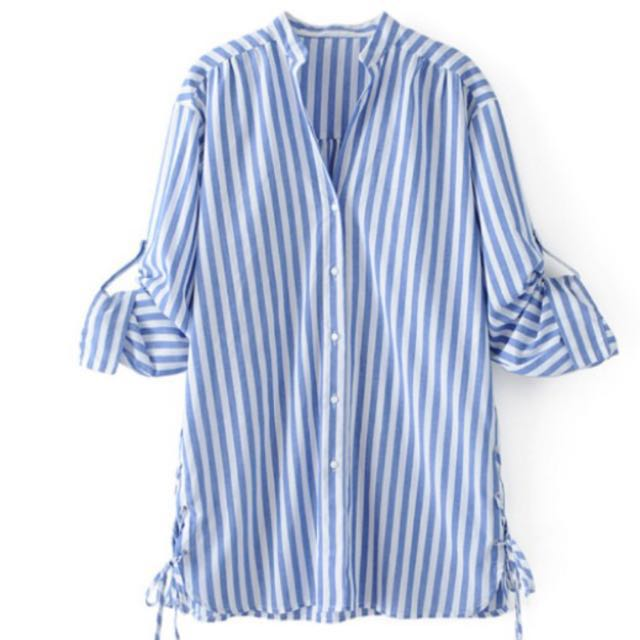 ce32c575 Zara inspired blue stripes blouse, Women's Fashion, Clothes, Tops on  Carousell
