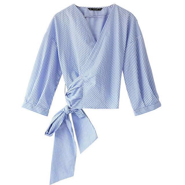 8fb3fdbf61 Zara mango blue and white striped shirt wrap around v neck shirt. Sleeves.  Ribbon wrap around. M L. , Women's Fashion, Clothes, Tops on Carousell