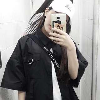 超帥酷炫古著風黑色圓環襯衫開衫外套