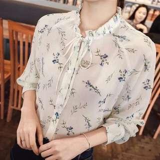 C0160 韓款 秋裝小清新雪紡碎花小木耳邊寬鬆長袖恤衫襯衫上衣