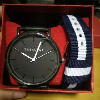 🚚 Minimalist black leather watch nato set