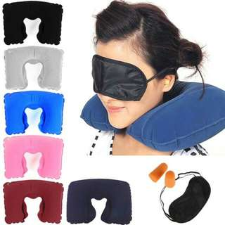 3 IN 1 INFLATABLE PILLOW TRAVEL SET WITH EARPLUG EYE MASK