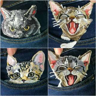 1pc cat patches for clothing iron embroidered patch applique iron on patches accessories badge stickers on clothes Jeans bags