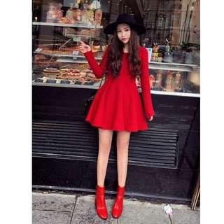 【週末女孩】韓范質感風 秋冬新款 針織長袖復古合身傘洋裝 正紅色限定 尺寸可選 TZ102