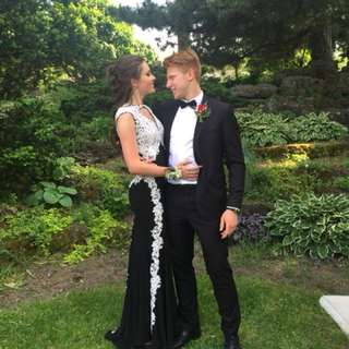 Prom Dress - Black with white lace
