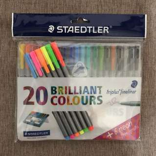 Staedtler Brilliant Colours Triplus Fineliner (20+6)