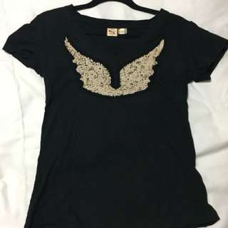 FCUK black angel wing top :)