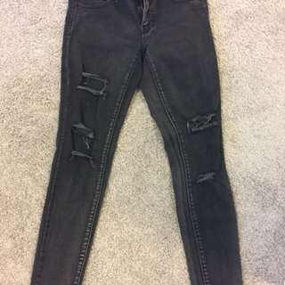 Destroyed black denim