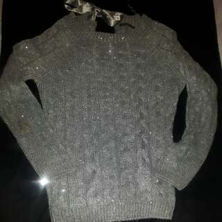 Sequenced grey knit sweater