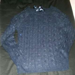 Sequenced navy blue knit sweater