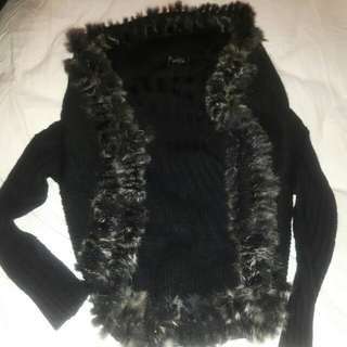 Black cardigan with faux fur trim