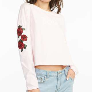 Cute long sleeve floral shirt in black