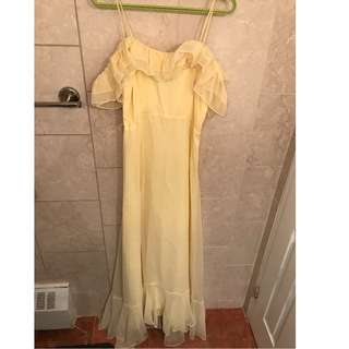 Floor Length Off The Shoulder Yellow Chiffon Dress/Gown