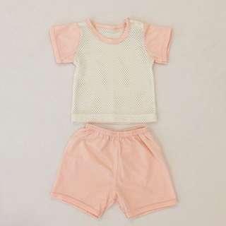 Orange eyelets baby top & pant set (newborn)