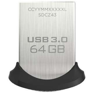 Brand New Sandisk Ultra Fit 64GB 3.0 USB + Lanyard