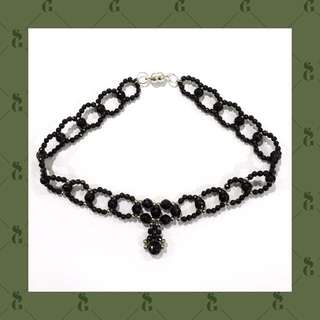 Kalung choker beaded 3mm black agate dg 6mm onyx faceted elegan silvery ornament