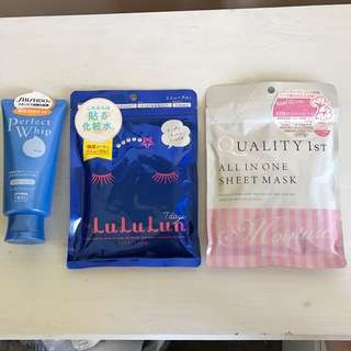 Japanese skincare- lululun face masks, shiseido perfect whip, quality sheet masks