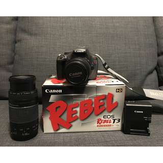 Canon EOS Rebel T3 with Additional Zoom Lens and Camera Bag