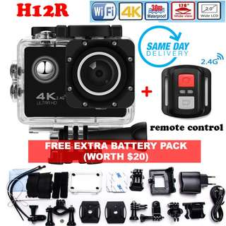 [SALES] Brand New and Quality H12R Ultra HD 4K@30FPS Action Sports Camera DVR, Wifi&RF 2.4G Wireless Control, Waterproof 30M Digital Camera, 170 Degree Wide Lens (One Year Warranty) AND FREE EXTRA BATTERY PACK and SAME DAY DOORSTEP DELIVERY @ 90SGD!