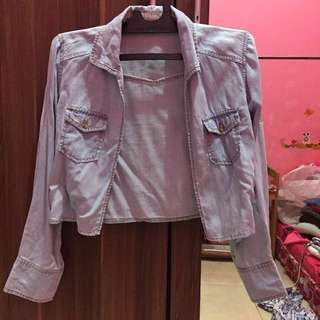 Denim crop outer
