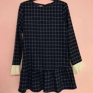 Blue Checkered Mini Dress in M Size