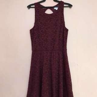 Maroon Lace Dress (Cotton On) fits M-L size