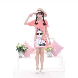 Mini Dress Peach And Black