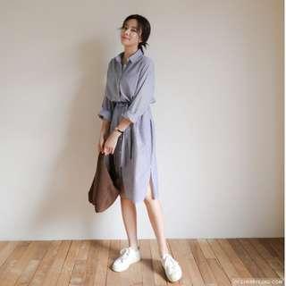 正韓 Cherrykoko 條紋綁帶長版襯衫洋裝