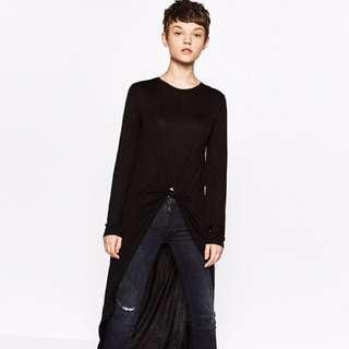 Zara 全新 含吊牌 黑色 扭結 裝飾 前短後長 長袖 上衣 EUR S