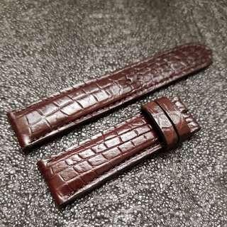 Genuine Alligator Belly 22mm Oak Brown watch strap for Breitling Seiko Glycine