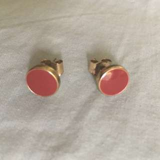 H&M Red/Gold Circle Earrings Studs