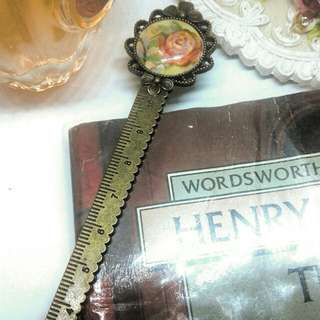 Vintage rose bookmark Ruler - Handmade